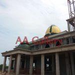 bentuk kubah masjid tembaga kuningan